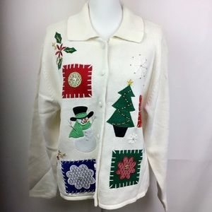 Vintage embroidered ugly Christmas sweater